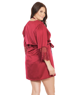 Stretch Satin Robe w /Eyelash Lace Sleeve Robe Merlot - Curvy