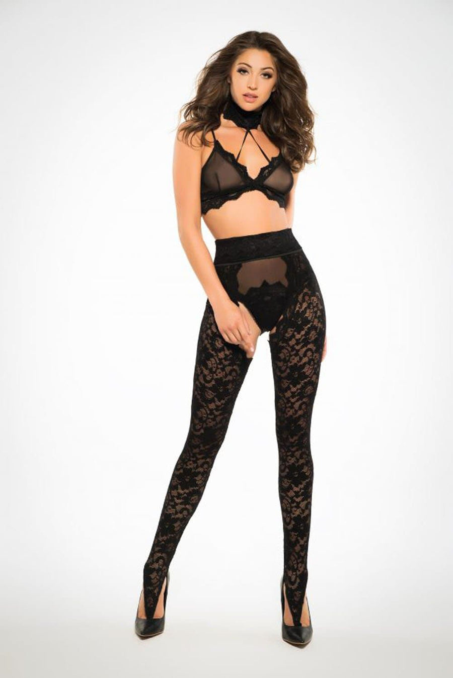Freya Wild Lace Chaps Panty and Bra - Black - Large
