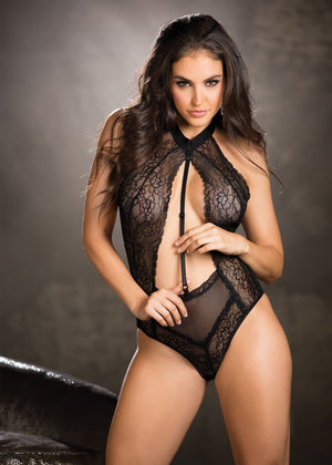 Fishnet Teddy - - Black