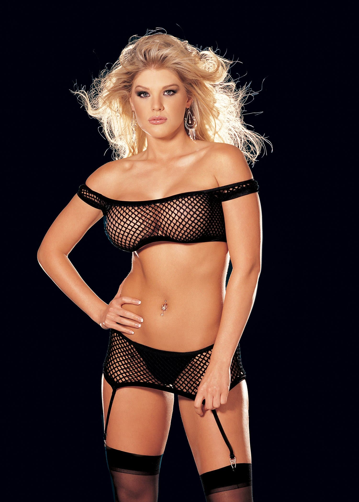 4 Pc. Fishnet Stretch Lace & Suspender Teddy - One Size -