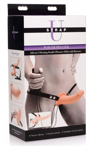 Power Pegger Silicone Vibrating Double Dildo With Harness.