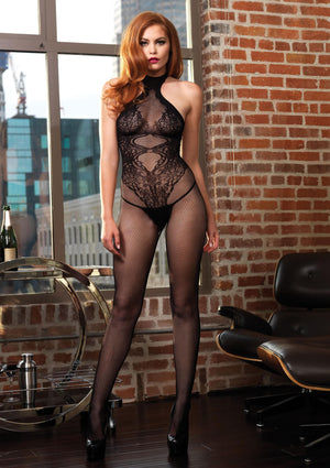 Fishnet Halter Bodystocking Floral Lace Hourglass Detail - One Size -