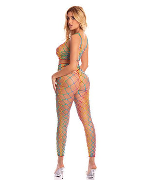 Pink Lipstick Roy G. Biv 2 Pc Bodystocking Rainbow