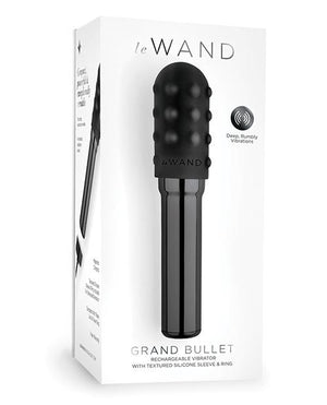 Le Wand  Premium Grand Chrome Bullet Rechargeable Vibrator W/ Silicone Textured Ring