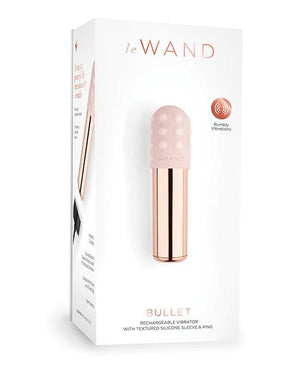 Le Wand Chrome Bullet Discreet Travel Size Vibrator W/silicone Textured Ring - Rose Gold