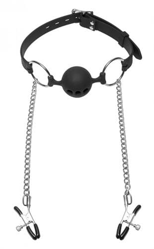 Hinder Silicone Breathable Ball Gag and  Nipple Clamps
