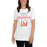 One Grapheme at a Time Pink Short-Sleeve Unisex T-Shirt