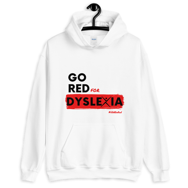 IDA Go Red for Dyslexia White Unisex Hoodie