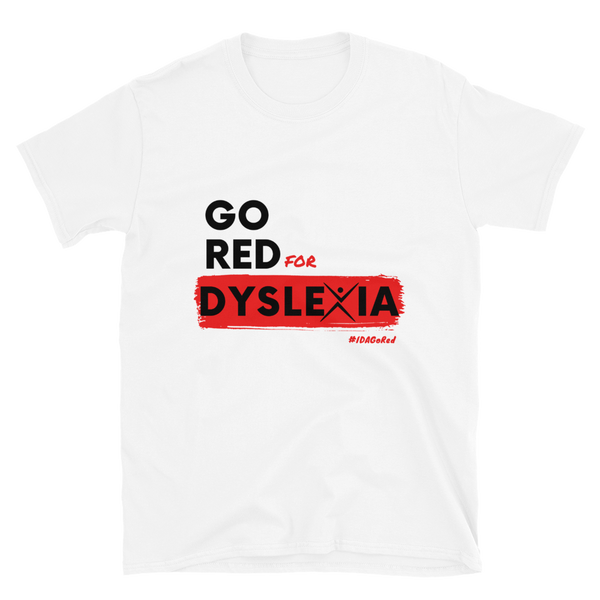 IDA Go Red for Dyslexia White Short-Sleeve Unisex T-Shirt