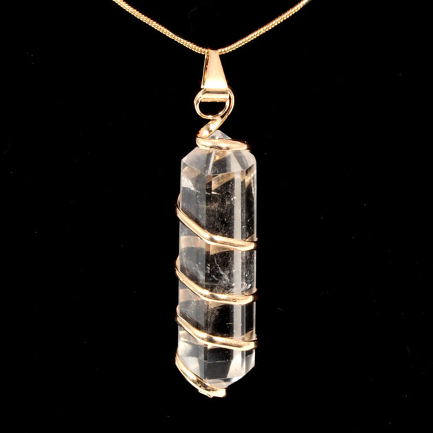 Clear Quartz Point with Spiral Pendant & Chain (Gold Plated)