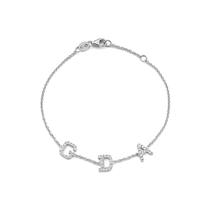 Triple Diamond Letter Bracelet