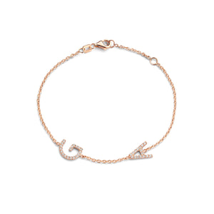 Double Diamond Letter Bracelet