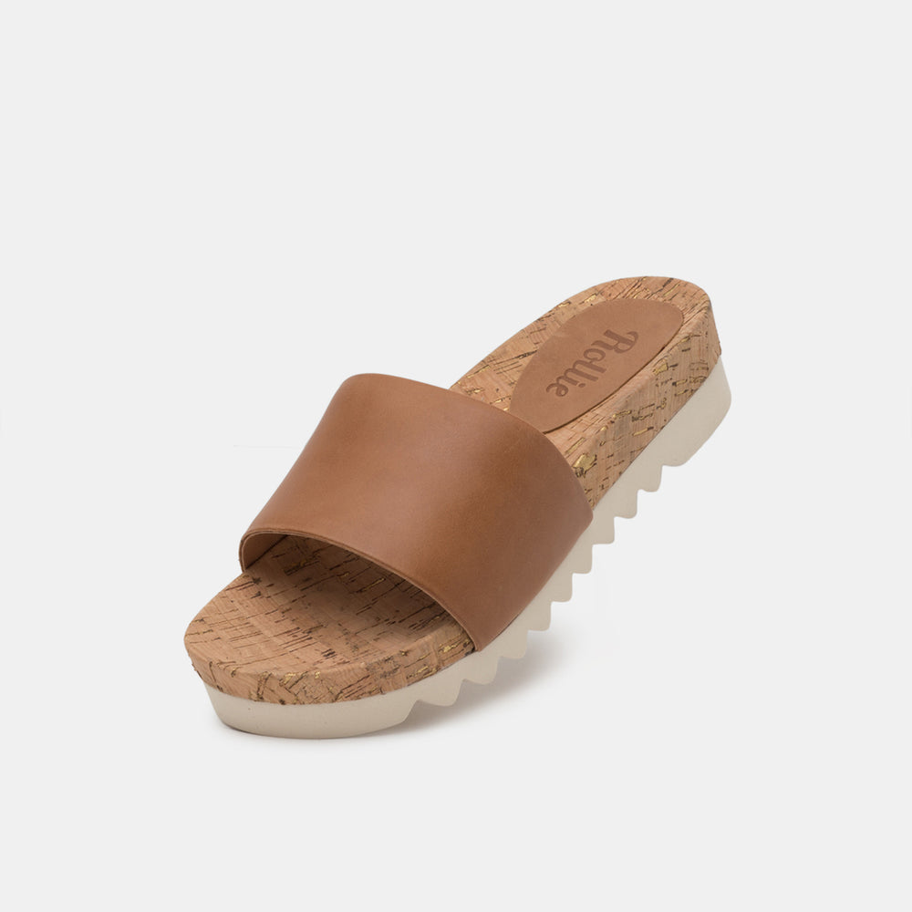 Sandal Slide Tooth Wedge Cork Tan