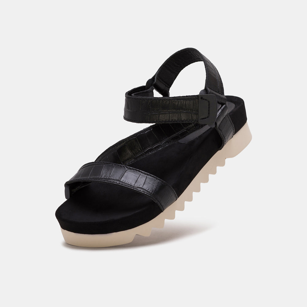 Sandal Tooth Wedge Black Croc