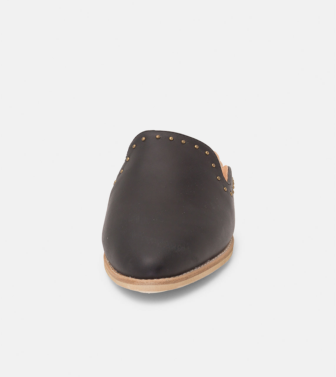 Madison Mule Black Leather/Gold Studs