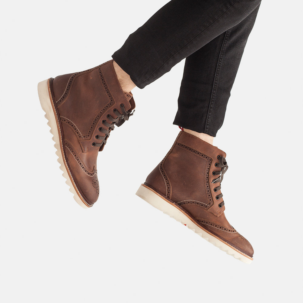 High Brogue Boot Mens Cognac Burnish