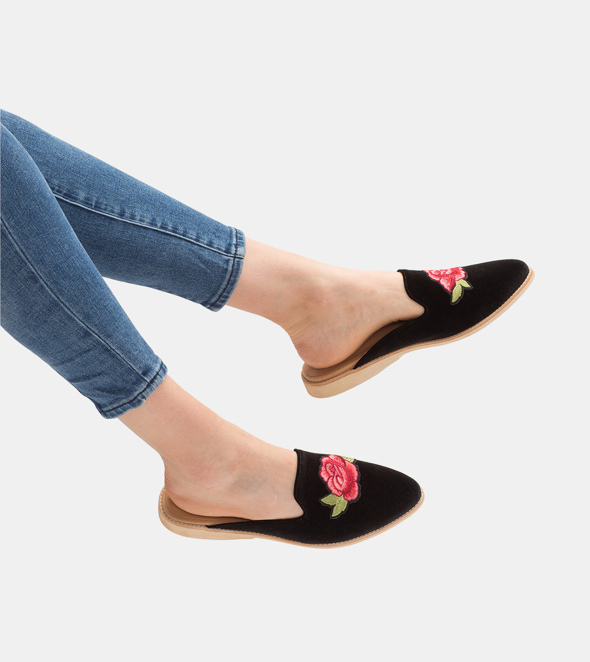 Madison Mule Black Velvet/Rose Patch