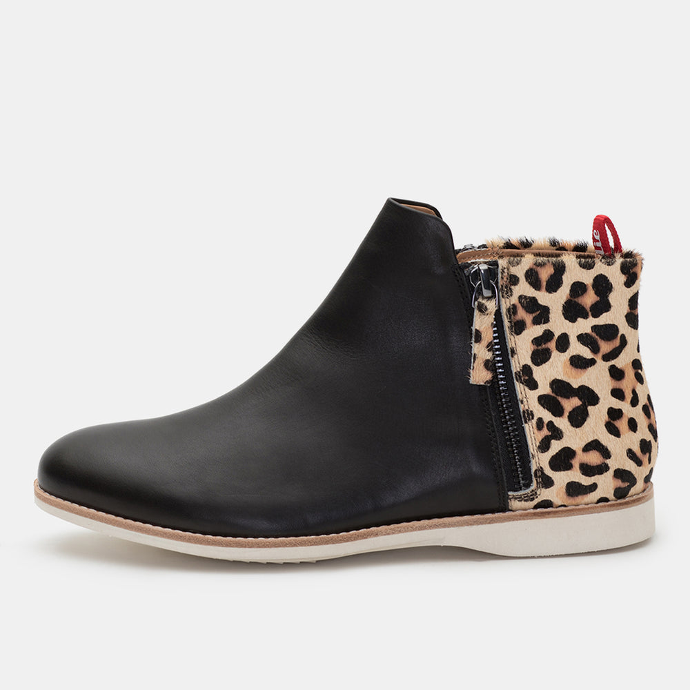 Side Zip Boot Black/Camel Leopard