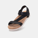 Sandal Tooth Wedge Strap Punch Black