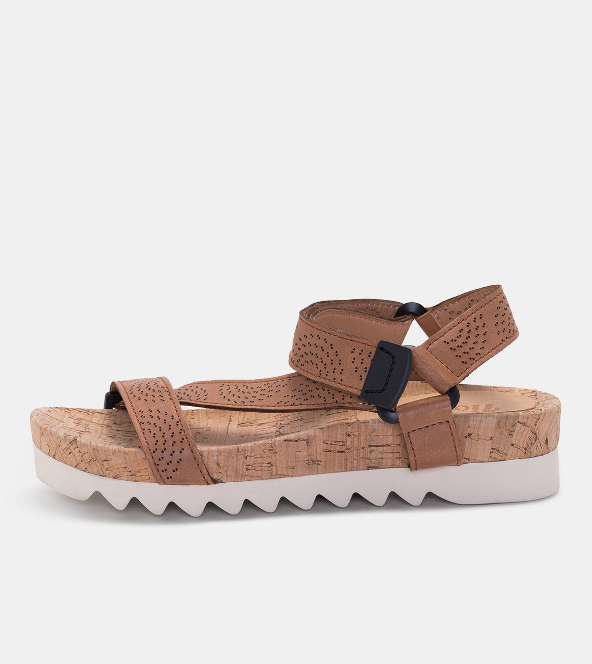 Sandal Tooth Wedge Strap Punch Tan Burnish