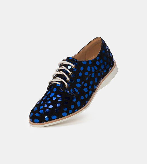 Derby Metallic Blue Leopard