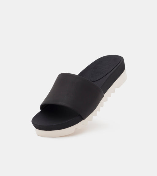 Sandal Slide Tooth Wedge Cork Black