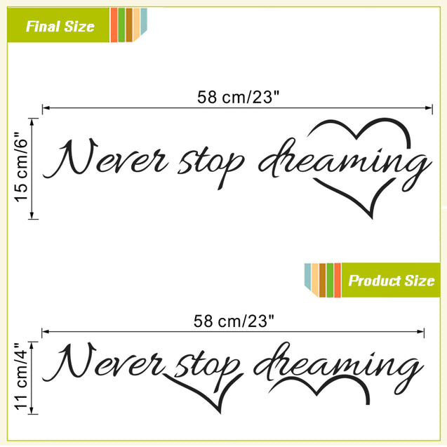 "Elegant ""Never stop dreaming"" Wall home deco stickers"
