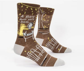 Blue Q Socks Men's A Boy and His Dog Crew Socks - Idaho Mountain Touring