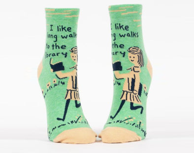 Women's I Like Long Walks To The Library Crew Sock