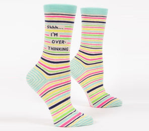 Blue Q Socks Women's Shhh... I'm Overthinking Crew Sock - Idaho Mountain Touring
