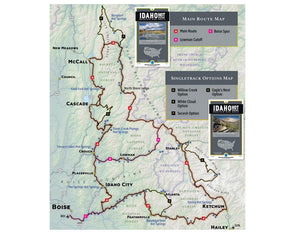 Adventure Maps Inc. Idaho Hot Springs Mountain Bike Main Route Map - Idaho Mountain Touring