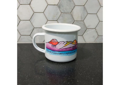 Ladybug Press Sawtooth Mountains Enamel Mug - Idaho Mountain Touring
