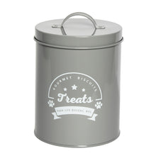 Load image into Gallery viewer, GOURMET BISCUITS GREY TREAT CANISTER - Park Life Designs