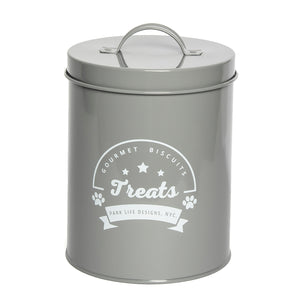 GOURMET BISCUITS GREY TREAT CANISTER - Park Life Designs