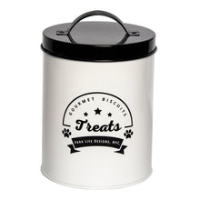 Load image into Gallery viewer, GOURMET BISCUITS WHITE TREAT CANISTER - Park Life Designs