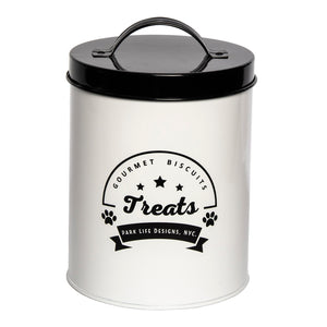 GOURMET BISCUITS WHITE TREAT CANISTER - Park Life Designs