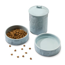 Load image into Gallery viewer, 3 PIECE SET MANOR BLUE, TREAT JAR AND PET BOWLS - Park Life Designs