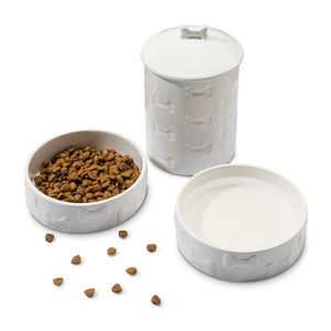 3 PIECE SET MANOR WHITE, TREAT JAR AND PET BOWLS - Park Life Designs