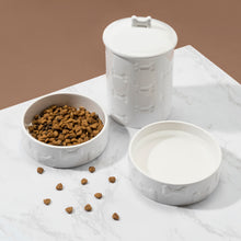Load image into Gallery viewer, 3 PIECE SET MANOR WHITE, TREAT JAR AND PET BOWLS - Park Life Designs