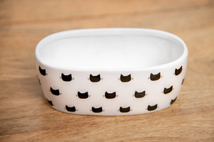 WHITE MONTY OVAL CAT DISH