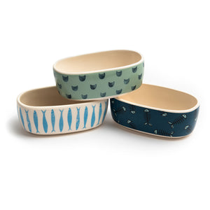 SET OF 3 OVAL CAT DISHES - Park Life Designs