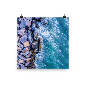 Boston Harbor Rocky Shore - Print