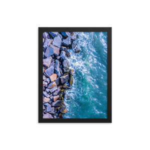 Boston Harbor Rocky Shore - Framed