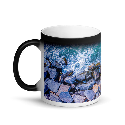 Boston Harbor Rocky Shore - Matte Black Magic Mug