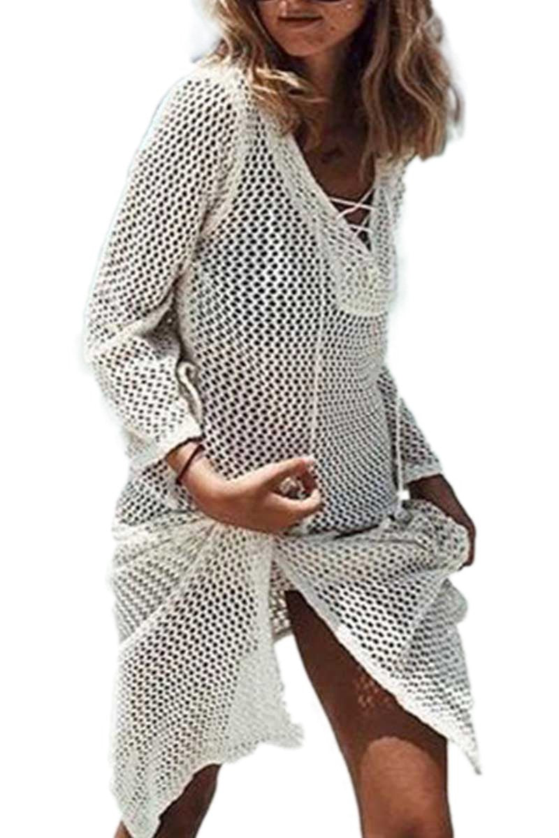 Lace Up Chunky Crochet Mesh Dress
