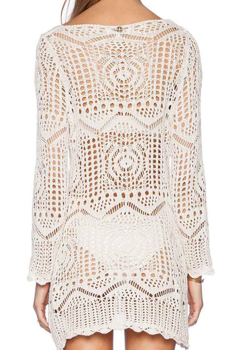 Off The Shoulder Crochet Mini Dress