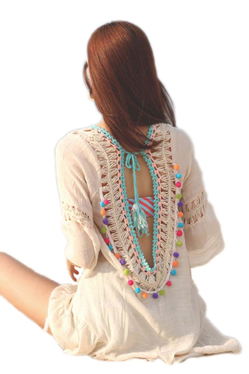 Open Back Rainbow Pom Pom Dress