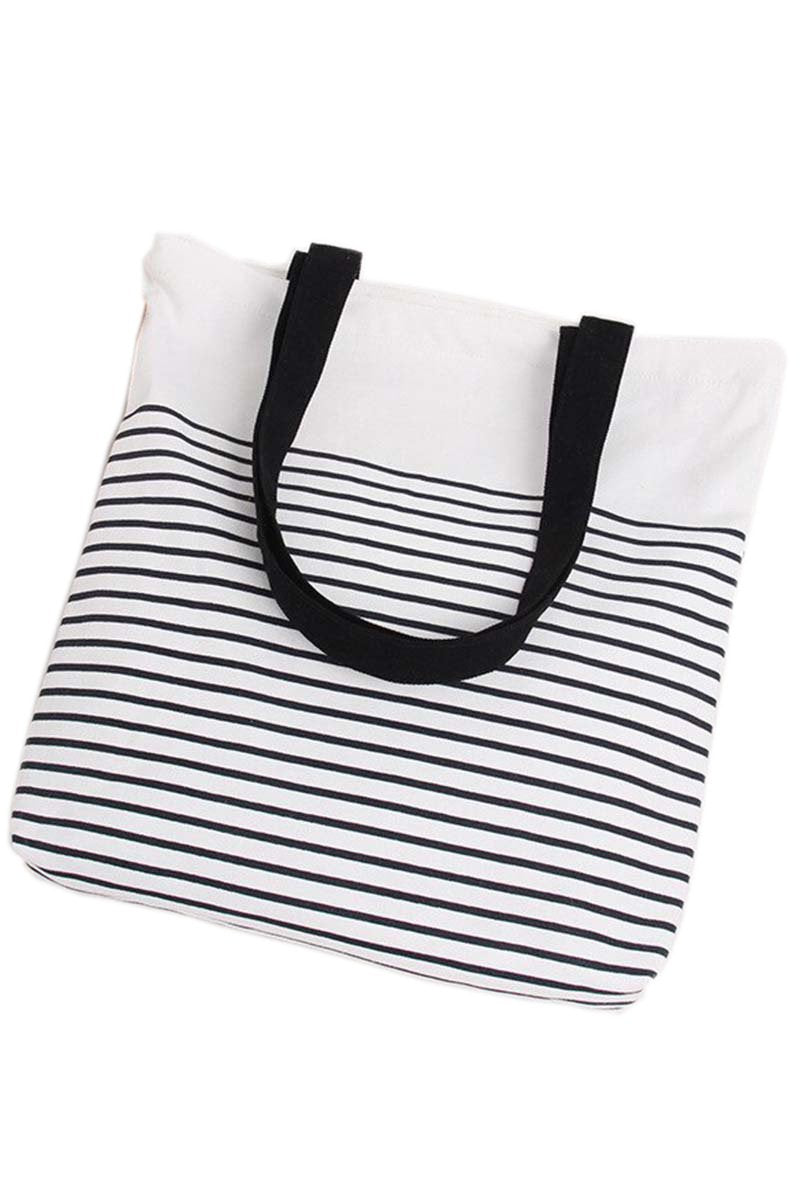 Striped Canvas Beach Tote