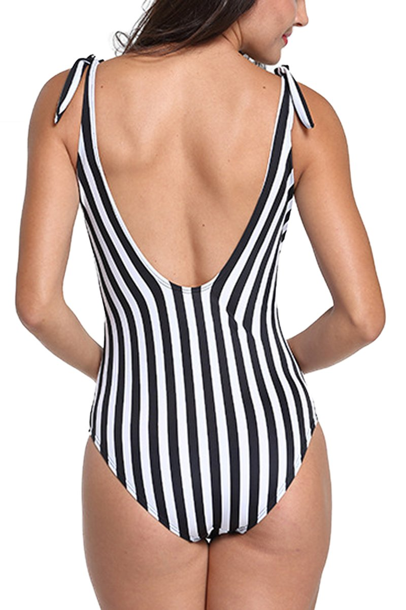 Striped Slinky Swimsuit With Adjustable Straps