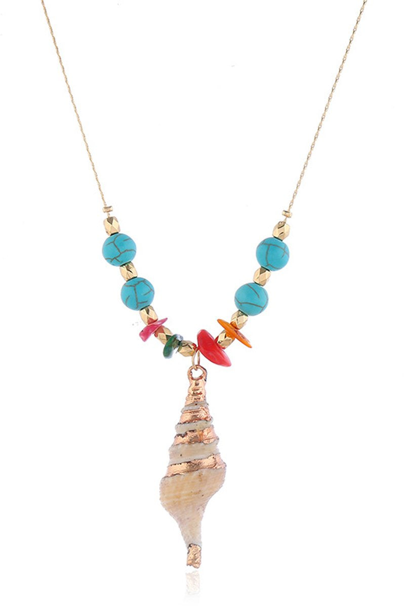 Spiral Seashell Necklace With Turquoise Beads